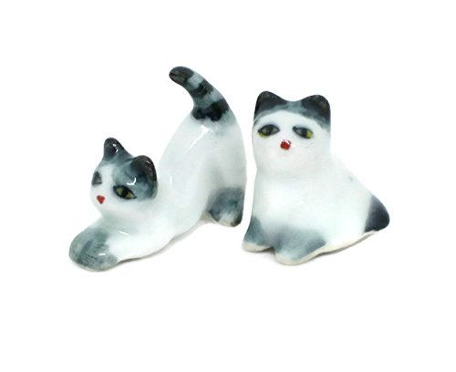 Cat Family Miniature Figurines Ceramic inspired by nature Animals (two tone)