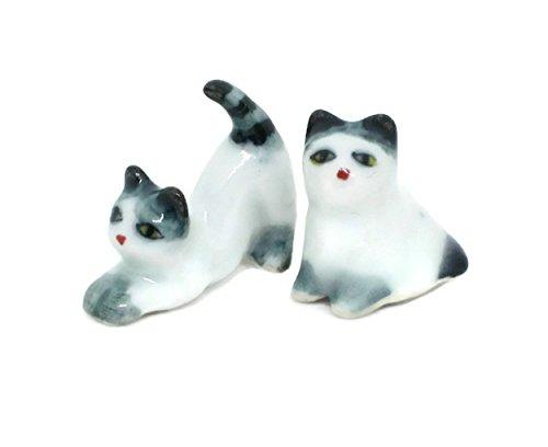 Cat Family Miniature Figurines Ceramic inspired by nature Animals (two (Hinge Ham)
