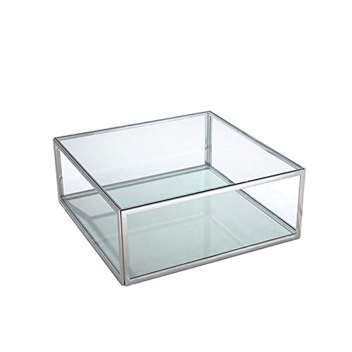 HomeRoots Coffee Table, Square Clear Glass, Stainless Steel Base