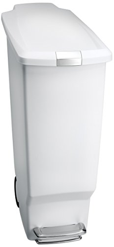 (simplehuman 40 Liter / 10.6 Gallon Slim Kitchen Step Trash Can, White Plastic With Secure Slide Lock)