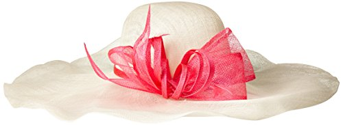 Scala Women's Soft Brim Sinamay Hat with Bow, Ivory/Fuchsia, One Size by Scala