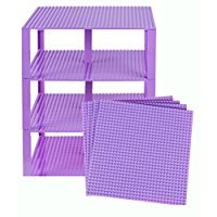 Strictly Briks Classic Baseplates 10 x 10 Brik Tower 100% Compatible with All Major Brands   Building Bricks for Towers and More   4 Lavender Stackable Baseplates & 30 Stackers