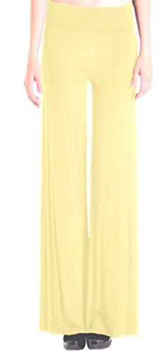 VENECIA Solid Palazzo Pants (Custard Yellow, Medium)