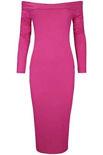 Oops Outlet - Robe Mi-Longue Épaules Dénudées Extensible Manches Longues Style Bardot - Grande taille (48/50), Cerise