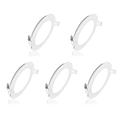 - Pocketman 5 Pack Round Ultrathin 9W 5-inch Flat LED Recessed Panel Ceiling Light,650lumens,Warm White,AC85-265V,for Home, Office, Commercial Lighting