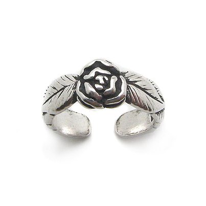 Rose Flower and Leaves Antiqued Sterling Silver Pinky Band Toe Ring - Antiqued Rose Ring