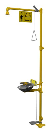 Bradley S19314AC Galvanized Steel 3 Spray Head Halo Combination Drench Showers and Eye/Face Wash Unit with Hand/Foot Operated Eyewash, 20 GPM, 18-1/2'' Width x 94-1/8'' Height x 26-13/16'' Depth, Yellow by Bradley