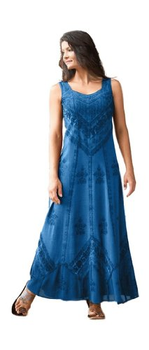 HolyClothing Ena Empire Waist Satin Lace Renaissance Gothic Sun Dress - Large - Blue (Divine Lace Dress)