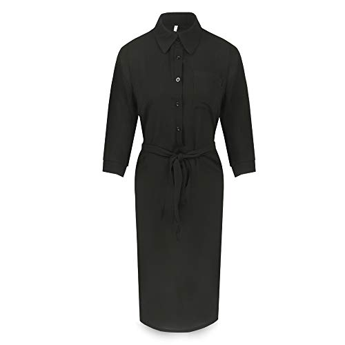 Manches Col ASSKDAN Robe avec V Robe Ceinture Uni Noir Femme 4 Tunique Chemise Basique Midi Casual 3 nwXqxYRXH