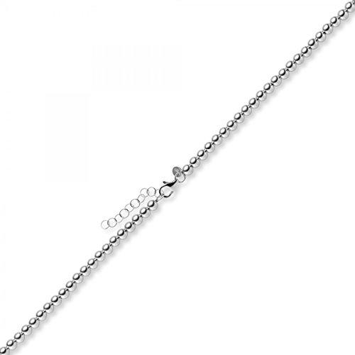 Boule 4mm Chaîne de bracelet Bracelet avec rallonge, en or blanc 585, 21cm