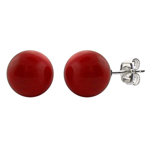 [Sterling Silver 8-8.5mm Round Simulated Red Coral Stud Earrings] (Simulated Coral Earrings)