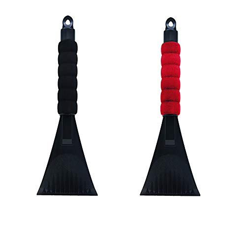 Kimanli 2Pcs Snow Ice Scraper, Winter Car Vehicle Window Snowbrush Shovel Removal Brush (Black)