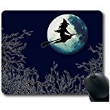 Sweeping The Halloween Witches Fly Over The Moon Personalized Custom Gaming Mouse Pad Rubber Durable Computer Desk Stationery Accessories Mouse Pads For -