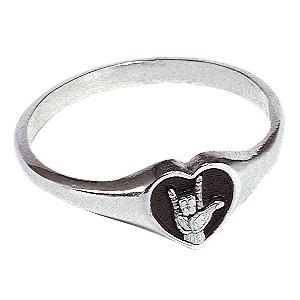 LDS 0.925 Sterling Silver I Love You Sign Language Ring - LDS Ring, Sign Language Ring