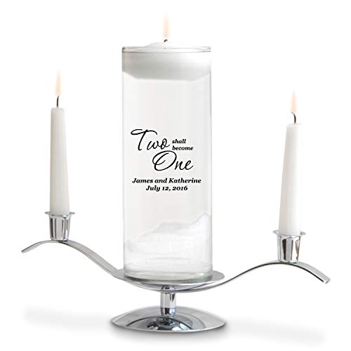 (Personalized Floating Wedding Unity Candle - Personalized Wedding Candle - Includes Stand - Two Shall Become One)