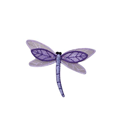 Large Sheered Layered Purple Dragonfly Iron on Embroidered Patch