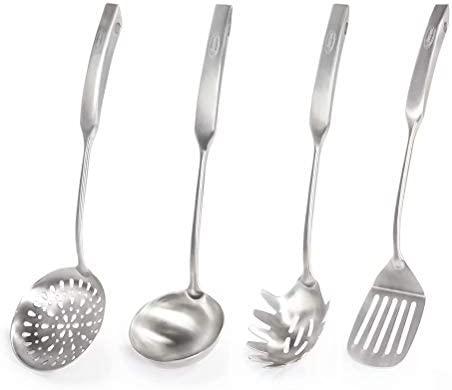 Newness Utensilio de cocina de 304 acero inoxidable, 4 Piezas Utensilios Cocina con Espumadera,Espátula, Cucharón Sopa, Cuchara de Pasta
