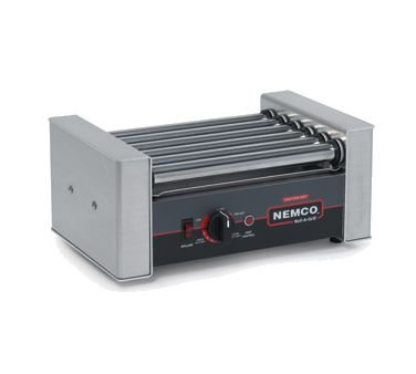 Nemco 8010SX Roll-A-Grill, Hot Dog Grill, 10 Hot Dog Capacity (200 Per Hour), Gripslt Coated Rollers