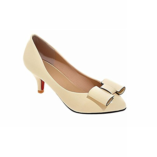 Latasa Womens Fashion Bow Mid-heel Dress Casual Pumps Shoes Beige emLN0