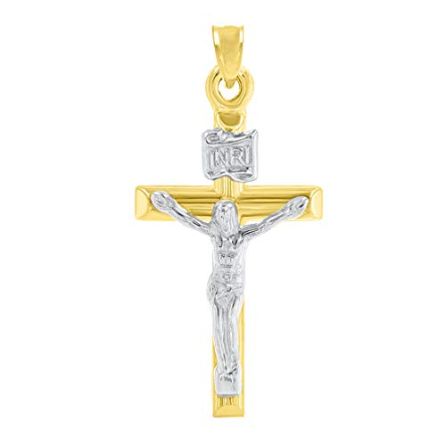 (14K Yellow Gold INRI Cross with White Gold Jesus Crucifix Pendant)