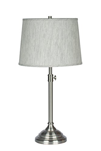 Urbanest Windsor Adjustable Table Lamp, Brushed Nickel Finish Lamp Base with Gray Tone Natural Linen Lampshade