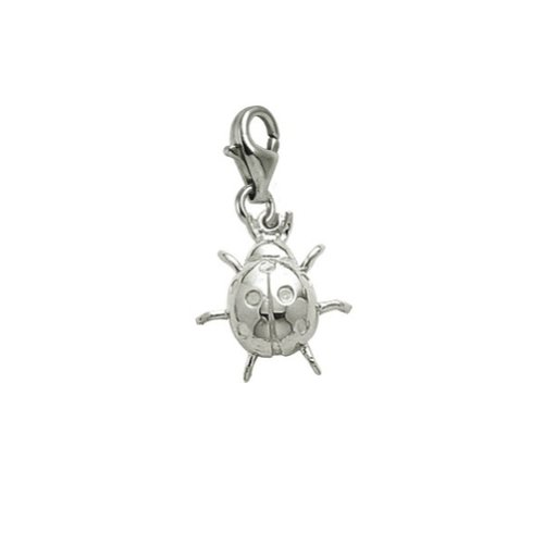 14k White Gold Ladybug (14k White Gold Lady Bug Charm With Lobster Claw Clasp, Charms for Bracelets and Necklaces)
