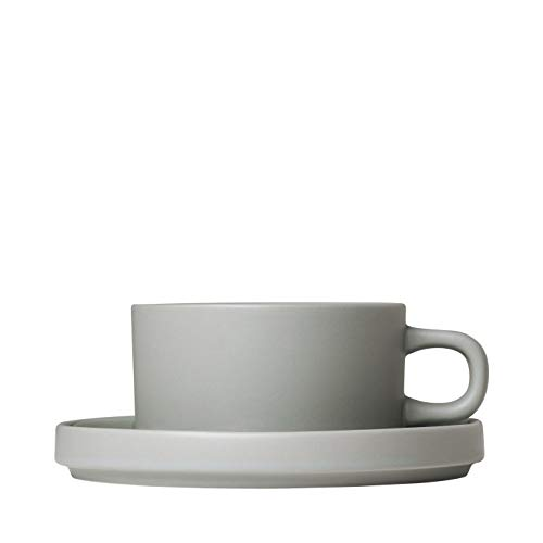(blomus Tea Cups with Saucers 170 ML / 6 Ounce - Set of 2 - Mirage Grey MIO)