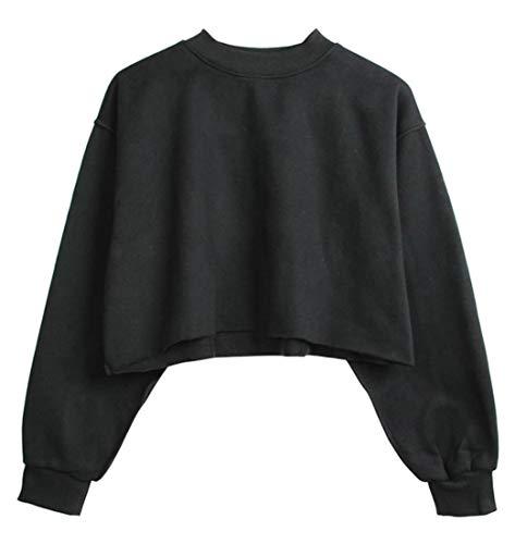 Black Long Fashion Tees Pullover Tops Cropped JSYAU Casual Pure Color Sleeve Womens Sweatshirts gqR7wR