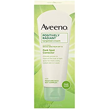 Aveeno Positively Radiant Targeted Cream Dark Spot Corrector with SPF 15 Sunscreen & Moisture-Rich Soy Complex, Oil-Free, Hypoallergenic & Non-Comedogenic, 2.0 fl. oz