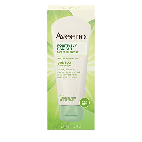 - Aveeno Positively Radiant Targeted Cream Dark Spot Corrector with SPF 15 Sunscreen & Moisture-Rich Soy Complex, Oil-Free, Hypoallergenic & Non-Comedogenic, 2.0 fl. oz