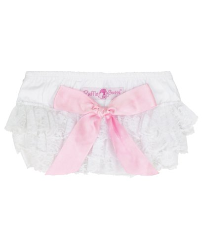 RuffleButts® Infant / Toddler Girls Lace Woven Ruffled Bloomer w/ Bow - White - (Lace Ruffled Bloomers)