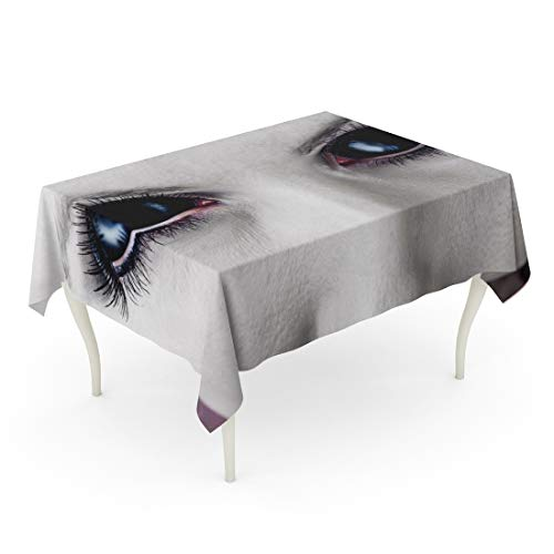 Tarolo Rectangle Tablecloth 52 x 70 Inch Demon Evil Black Female Alien Vampire Zombie Eyes Dirt Make Up Macro Halloween Devil Fantasy Table Cloth -