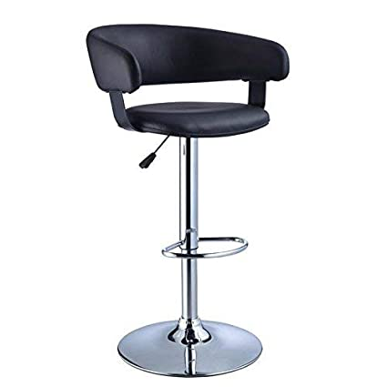 Cool Powells Furniture Black Faux Leather Barrel And Chrome Adjustable Height Bar Stool Short Links Chair Design For Home Short Linksinfo