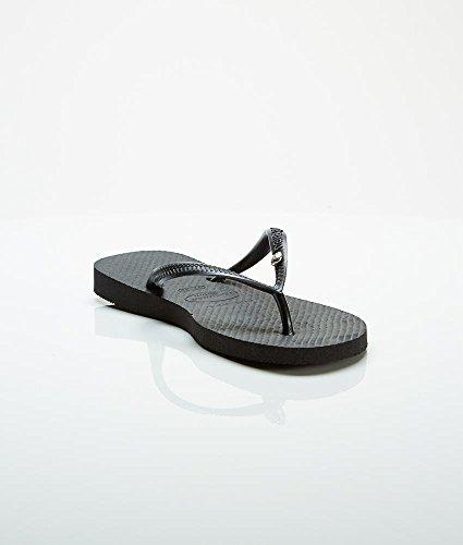 Havaianas Women's Crystal Glam Fashion Sandal,Black,39/40 BR (9-10 M - Black Brazil Havaianas