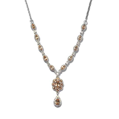 """Necklace 925 Sterling Silver Platinum Plated Imperial Topaz Zircon Jewelry for Women Size 18"""" Ct 2.1"""