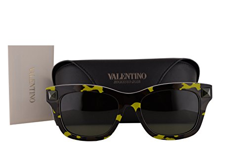 Valentino V670SC Sunglasses Fluorescent Yellow Army Green w/Black Lens 741 V - Eyewear Valentino