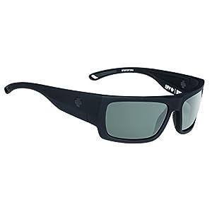 Spy Optic Rover Polarized Square Sunglasses, Soft Matte Black/Happy Gray/Green Polar/Dark Blue Spectra, 1.5 mm