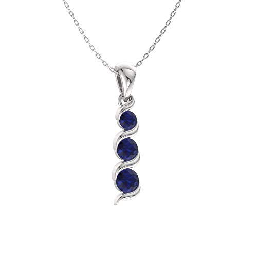 (Diamondere Natural and Certified Blue Sapphire Three Stone Necklace in 14k White Gold | 0.17 Carat Journey Pendant with Chain)