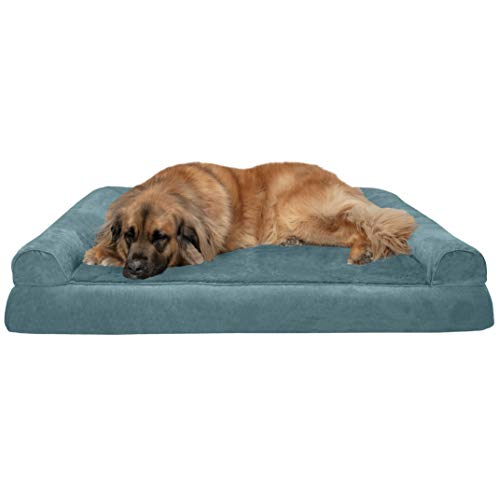 FurHaven Pet Dog Bed | Memory Foam Plush & Suede Sofa-Style Couch Pet Bed for Dogs & Cats, Deep Pool, Jumbo Plus ()