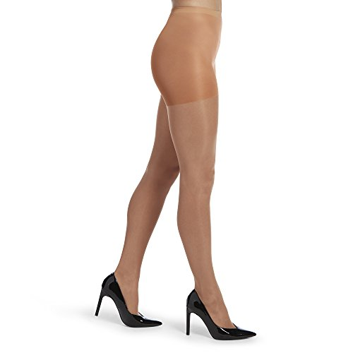 HUE Women's So So Silky Sheer Control Top Pantyhose (Pack of 3), tan, -