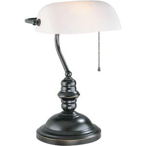Contemporary Lamp Bankers (Lite Source LS-224D/BRZ Banker's Lamp, Dark Bronze with Frost Glass Shade)