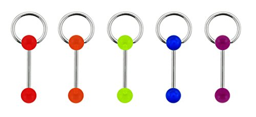 5 piece lot Red, Orange, Yellow, Blue, Purple uv Unique Doorknocker Slave Surgical Steel Barbell Tongue Ring - 14g