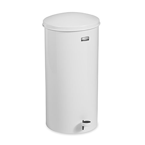 Rubbermaid Commercial Step-On Trash Can with Rigid Liner, 5-Gallons, White