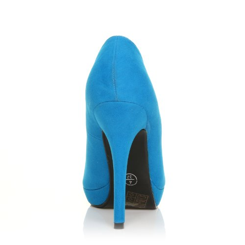 EVE Turquoise Faux Suede Stiletto High Heel Platform Court Shoes fN728pU92