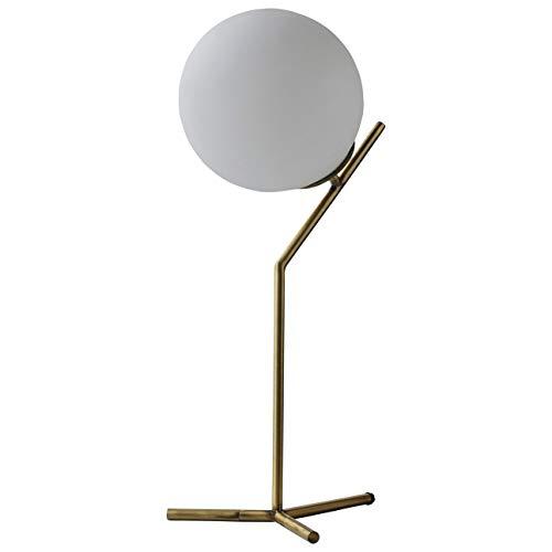 "Rivet Glass Ball and Ang Metal Table Lamp with Bulb, 21.5""H, Brass"