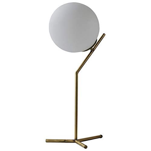 Rivet Mid Century Modern Glass Ball Metal Table Desk Lamp with LED Light Bulb - 8 x 21.5 Inches, Brass
