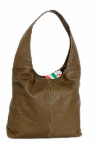 LEATHERWORLD Italy - Bolso al hombro de cuero para mujer marrón pardo mittel