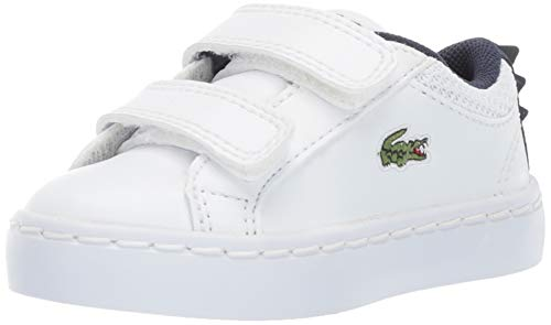 Lacoste Baby Straightset Sneaker, White Navy, 5. Medium US Toddler (Lacoste Baby Sneakers)