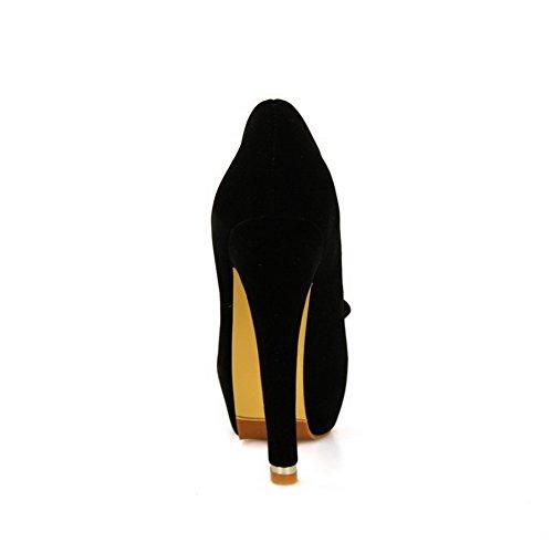 AllhqFashion Mujeres Sólido Tacón ancho Puntera Redonda Cerrada Sin cordones De salón Negro