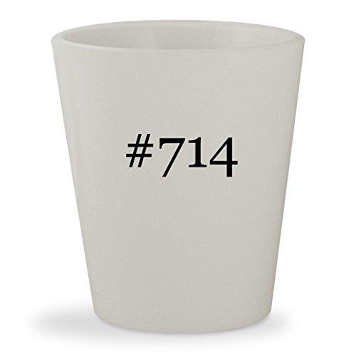 #714 - White Hashtag Ceramic 1.5oz Shot Glass